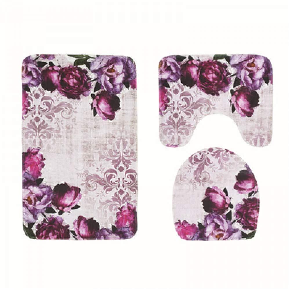 GMYANMTD 3 Stück Haushalt Badezimmer Produkte Anti Slip Slip Slip Badematten Set Amerikanischen Stil Floral Bad Saugmatte Weichen Kommode Toilettenschüssel Mat B07HF9P6JP Duschmatten e5f809
