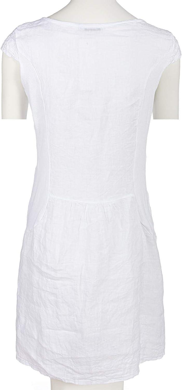 PEKIVESSA Damen Leinenkleid H/äkel-Stickerei Sommerkleid
