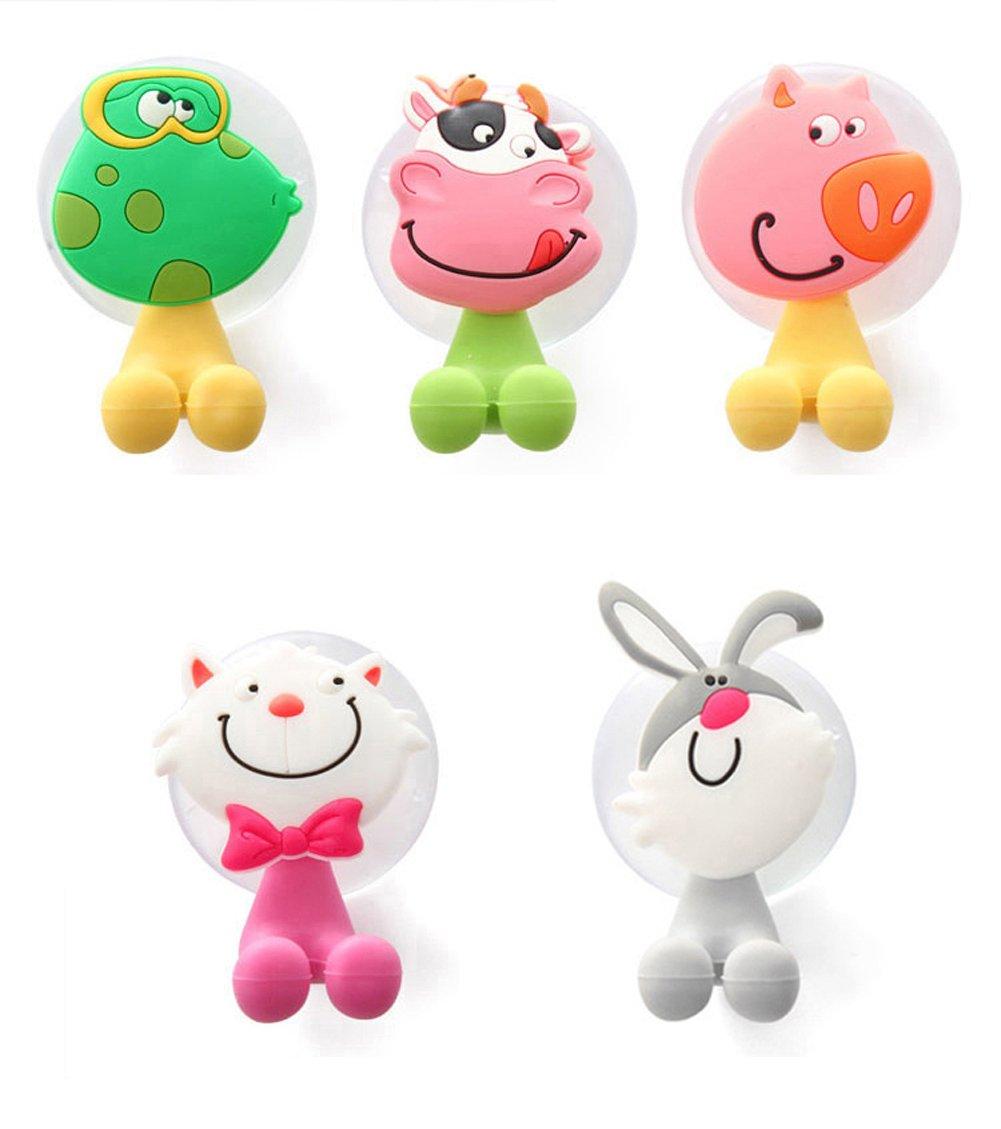 Alasida Bath Toy Organizer Set, 2 Mesh Bath Toy Storage Bag, 4 Strong Suction Cups Hook, 5 Cartoon Animal Toothbrush Holders by Alasida (Image #6)