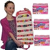 Shopkin Happy Places Series 3 Blind Pack X3 + EASYVIEW Pink Toy Organizer Bundle | Petkins Season 3 (S3-Pk-X3)