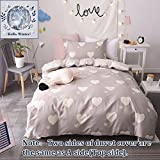 BuLuTu Girls Bedding Duvet Cover Sets Twin Cotton Love Print 3 Pieces Reversible Kids Duvet Cover Sets Light Brown Zipper Closure With 4 Corner Ties For Home Bedding,NO CPMFORTER