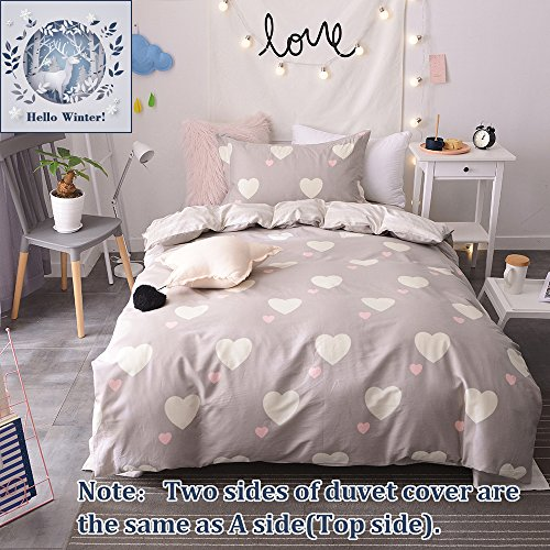 BuLuTu Girls Bedding Duvet Cover Sets Twin Cotton Love Print 3 Pieces Reversible Kids Duvet Cover Sets Light Brown Zipper Closure With 4 Corner Ties For Home Bedding,NO CPMFORTER