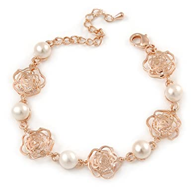 Avalaya Romantic CZ Rose with Dangling Pearl Bracelet In Rose Gold Metal - 15cm L/3cm Ext (For Small Wrist) tOwQ3R8mLN