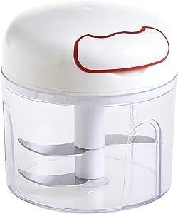 Garlic Chopper, 10.14oz Mini Manual Kitchen Mincer Hand Food Processor 3-blade Cutter Kitchen Tools Blender Mixer Pull for Garlic, Onion, Ginger, Vegetable, Fruit, Meat, Shallot, Chilli