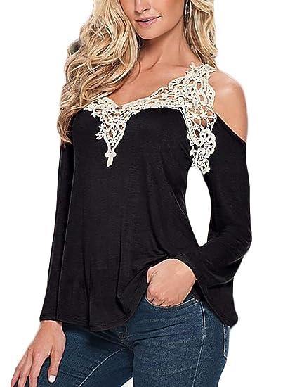d024d4fa392781 WSPLYSPJY Women Cold Shoulder Long Sleeve Lace Patchwork Loose Blouse T-Shirt  Black X-S