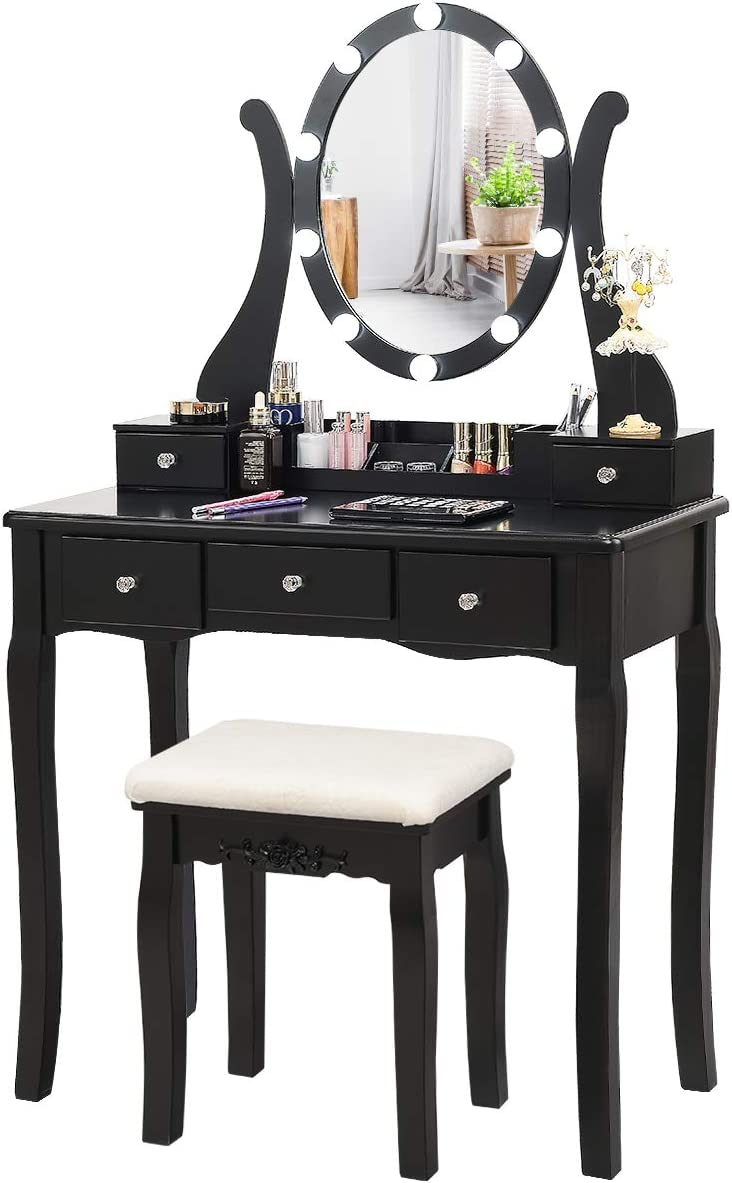 CHARMAID Vanity Table Set with Lighted Mirror, Makeup Dressing Table with 10 LED Lights, Touch Switch, 5 Drawers, Removable Organizer, 10 Dimmable Lights Makeup Table and Cushioned Stool Set (Black)