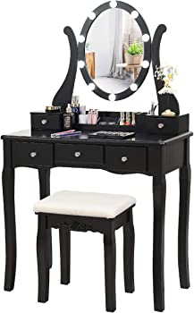 CHARMAID Vanity Table Set with Lighted Mirror