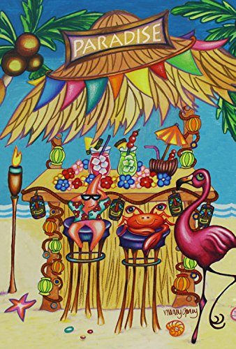 iki Beach Bar 28 x 40 Inch Decorative Tropical Summer Flamingo Crab Party House Flag (Palm Tiki Bar Decor)