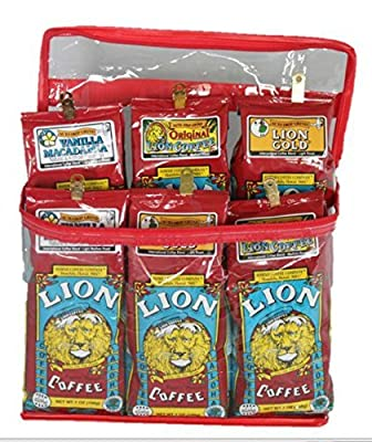 Lion Coffee Gift Pack Six - 7 oz Packs (Vanilla Macadamia / Lion Gold / Original)