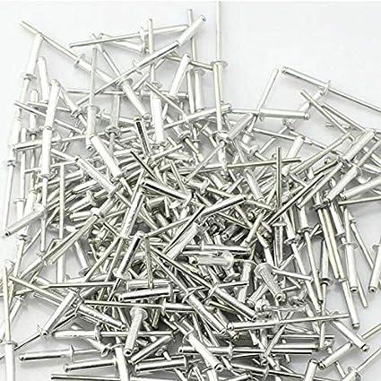 remaches de cabeza de c/úpula de extremo abierto paquete de 50 unidades de 2,4//3,2//4//4,8 mm plateado BE-TOOL Remaches de aluminio con remaches grandes