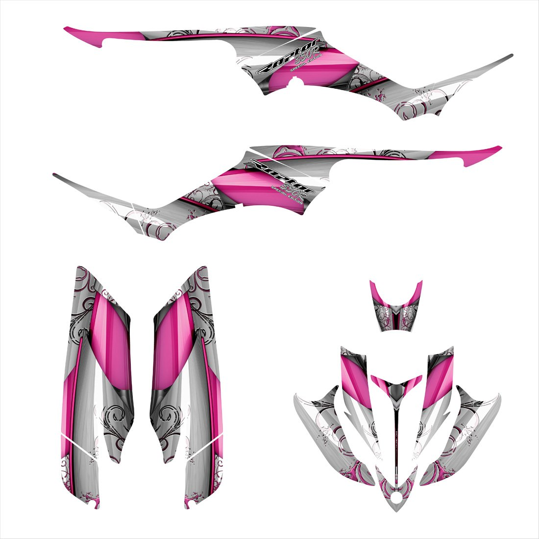 Yamaha Raptor 350 Graphics Decal Kit By Allmotorgraphics No8800 Pink