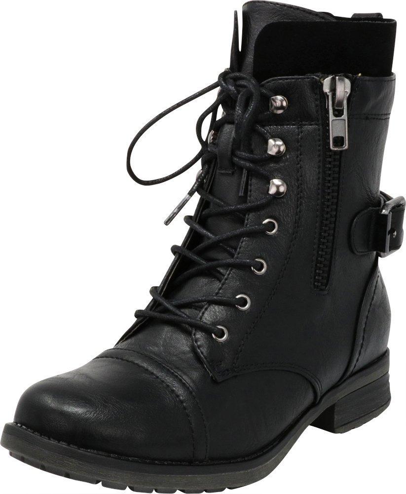Cambridge Select Women's Inside Zipper Combat Ankle Bootie,7 B(M) US,Black