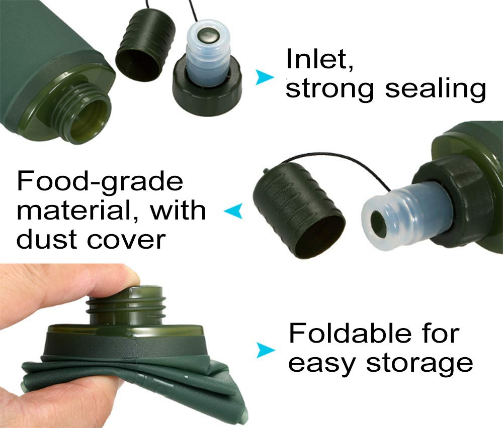 HODORPOWER Collapsible Water Bottle Environmental with Twist Cap Foldable Portable Kettle Leak Proof Spout for Outdoor Sports Travel Green