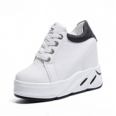 a5fd3856f2f2 Women Anti-Slip Slip On Wedge Sneakers Platform Hidden High Heels Shoes(Black  39