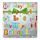 Happy Birthday Wishes Jumbo Rolled Gift Wrap - 67 sq. ft. heavyweight, tear-resistant and peek-proof wrap, Kids Birthday wrapping paper, Party Gift Wrap