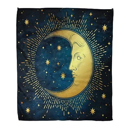 Manta de franela con diseño de luna, media luna y estrellas en ...