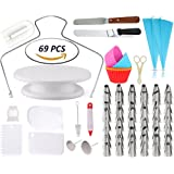 Cake Decorating Supplies - Rotating Turntable Stand | Professional Cupcake Decorating Kit | Baking Supplies | Icing Spatula & Smoothers | 2 Silicon Piping Bags | 48 Tips Set | Pastry Tools | Cupcake