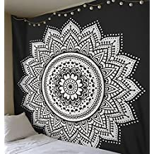 Greenpse Mandala Tapestry Wall Hanging Art for Dorm Décor - Versatile Picnic Beach Sheet Coverlet, Black and White (Black and White)