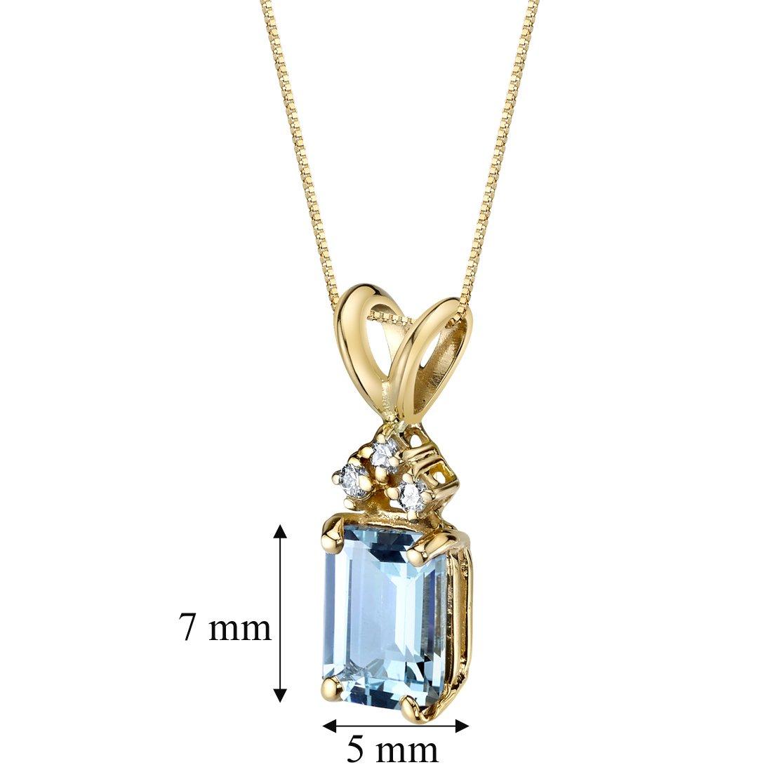 82837bc17bf Amazon.com  14 Karat Yellow Gold Emerald Cut 1.00 Carats Aquamarine Diamond  Pendant  Jewelry