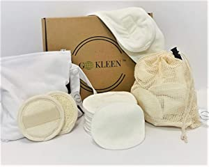 21 PC Kit Reusable Makeup Remover Pads Reusable Cotton Rounds 2 PC Loofah Face Exfoliator Pad with Adjustable Headband Laundry Bag and Travel Zipper Bag Eco Friendly Zero Waste Face Pads Organic Bamboo