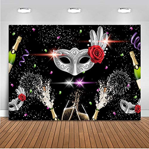 Mocsicka Black Masquerade Theme Party Backdrop 7x5ft Vinyl Red Rose Champagne Mardi Gras Mask Photo Backdrops Dancing Party Masquerade Birthday Photography Background