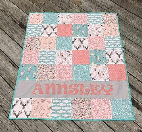 Personalized Aqua Blue (Teal ) and Coral (Peach) Bohemian Woodland Baby Girl Quilt - Crib or Toddler Size by Mickey's Creations
