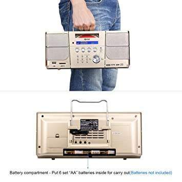 Amazon.com: Portable cd Player,Boombox DPNAO with Headphones Jack FM Radio Clock USB SD and Aux Gold for Kids Laptop: Electronics