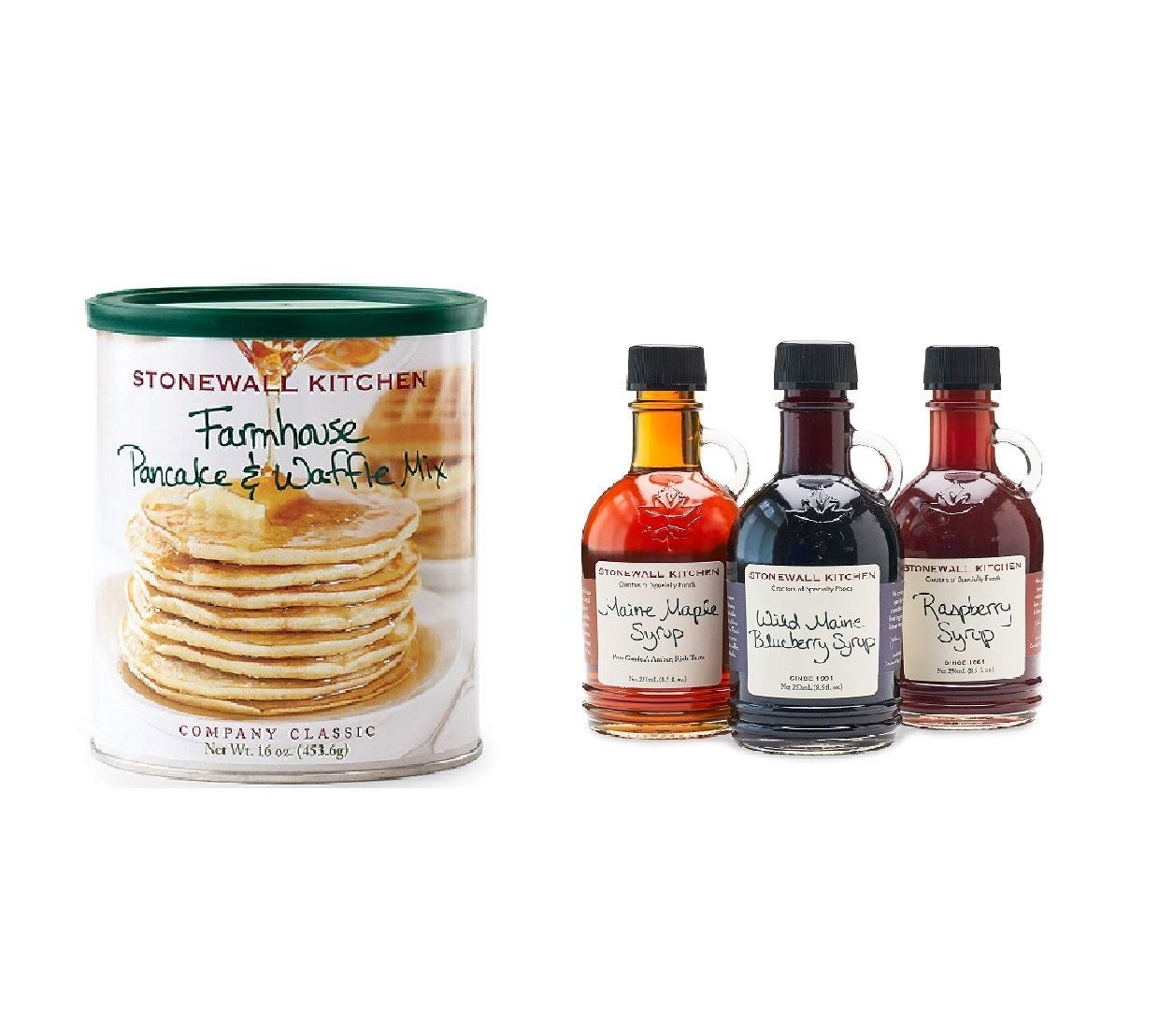 Stonewall Kitchen Syrup Variety Pack and Stonewall Kitchen Farmhouse Pancake & Waffle Mix Bundle