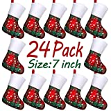 LimBridge 24 Pack Bulk Plaid Snowflakes Plush Christmas Stockings Set, Gift Card Silverware Holders, Mini Personalized Holiday Treat Bags for Neighbors Coworker