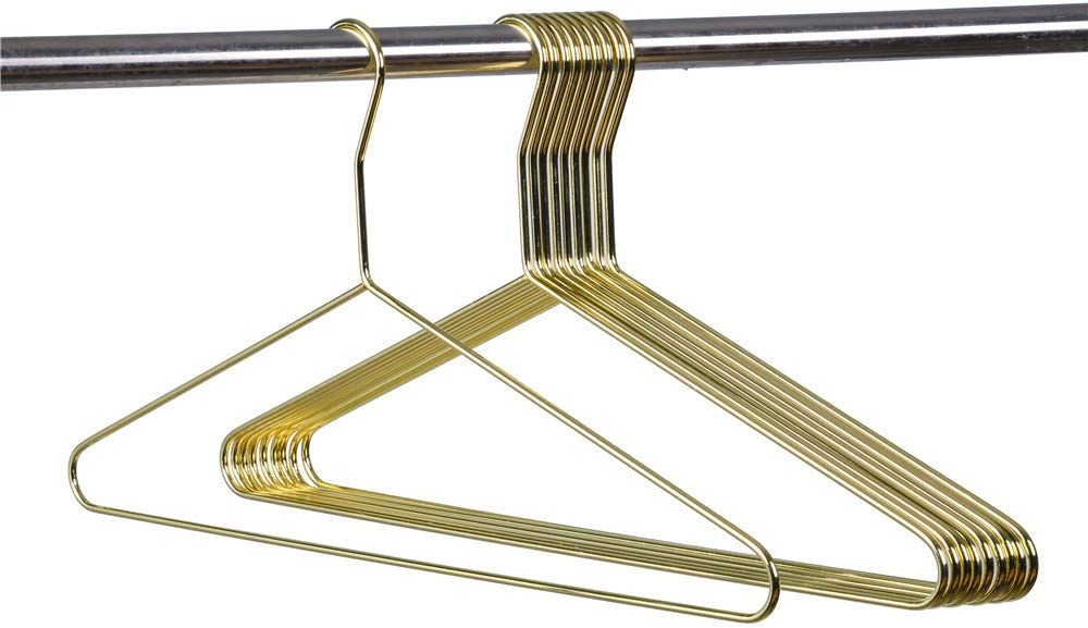 Quality Gold Modern Extra Heavy Duty Metal Hangers – Clothing Thin Compact Hanger – Coated Metal Hangers for Wardrobe – Shirt Pants Slim Hanger - 10 Pack