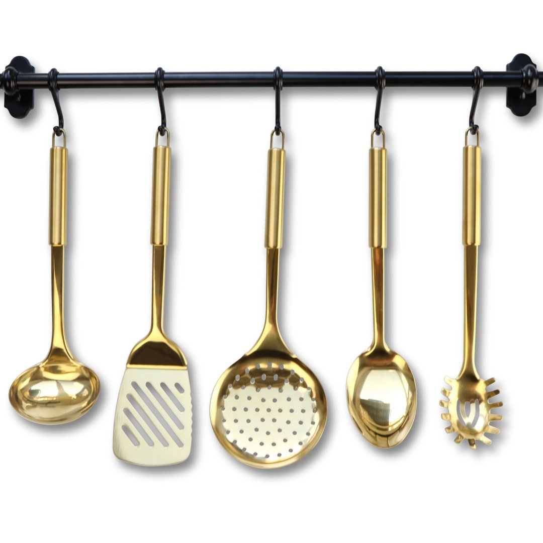 Gold/Brass Cooking Utensils for Modern Cooking and Serving, Kitchen Utensils -Stainless Steel Cooking Utensils 5 PCS-Gold Serving Spoon, Gold Soup Ladle, Pasta Serving Fork, Spatula, Kitchen Skimmer