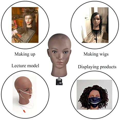 Professional Cosmetology Mannequin Head Manikin Head for Display Wigs Hair Glases Hat Headset Display Stand with Mount Hole Black