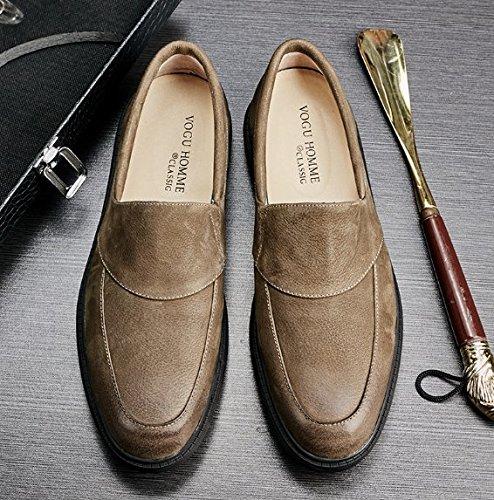 Happyshop Retro Mens Äkta Läder Skor Komfort Slip-on Tillfälliga Loafers Fjäderskor Fritidsskor Khaki