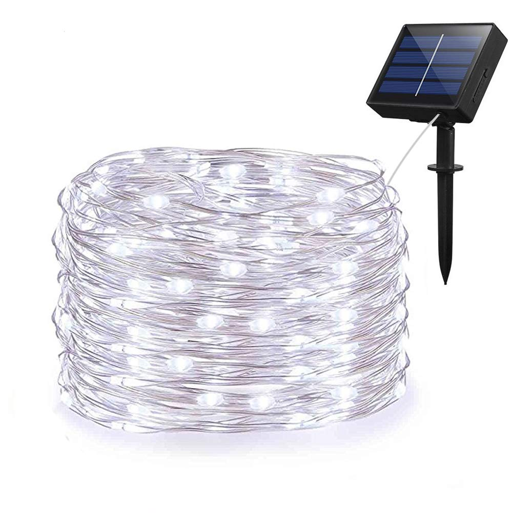 Adecorty Solar String Lights, Outdoor Solar Fairy String Lights with 100 LEDs 33ft Silver Copper Wire 8 Modes Waterproof for Outdoor Home Party Wedding Patio Landscape Trees Decor (Cold White)