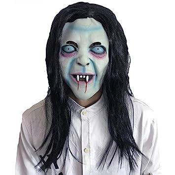 JIAAE Halloween Horror Máscara De Bruja Cabello Largo Maldición Fantasma Medio Tocado Fiesta De Baile Accesorios
