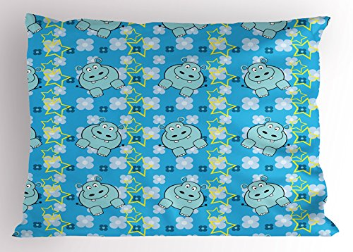 (Ambesonne Yellow and Blue Pillow Sham, Funny Cartoon Hippopotamus with Stars and Cute Daisy Flowers, Decorative Standard Queen Size Printed Pillowcase, 30 X 20 inches, Light Blue White Yellow)