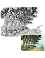Trees Path Background Clear Stamps for Card Making and Photo Album Decorations, Natural Scenery Transparent Rubber Stamps Seal for DIY Scrapbooking