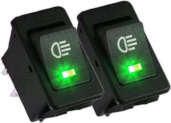 Qiorange Auto 35a 12v Kfz Schalter Wasserdicht Beleuchtet Led Grün 4 Polig Wechsel Switch Kippenschalter Wippschalter Ein Ausschalter Für Nebelscheinwerfer Scheinwerfer Auto