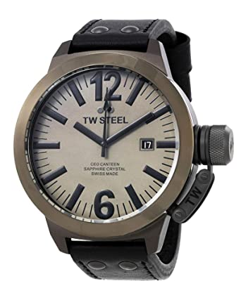 3f876be39 Image Unavailable. Image not available for. Color: TW Steel Men's CEO Canteen  Black/Dark Titanium Leather Watch