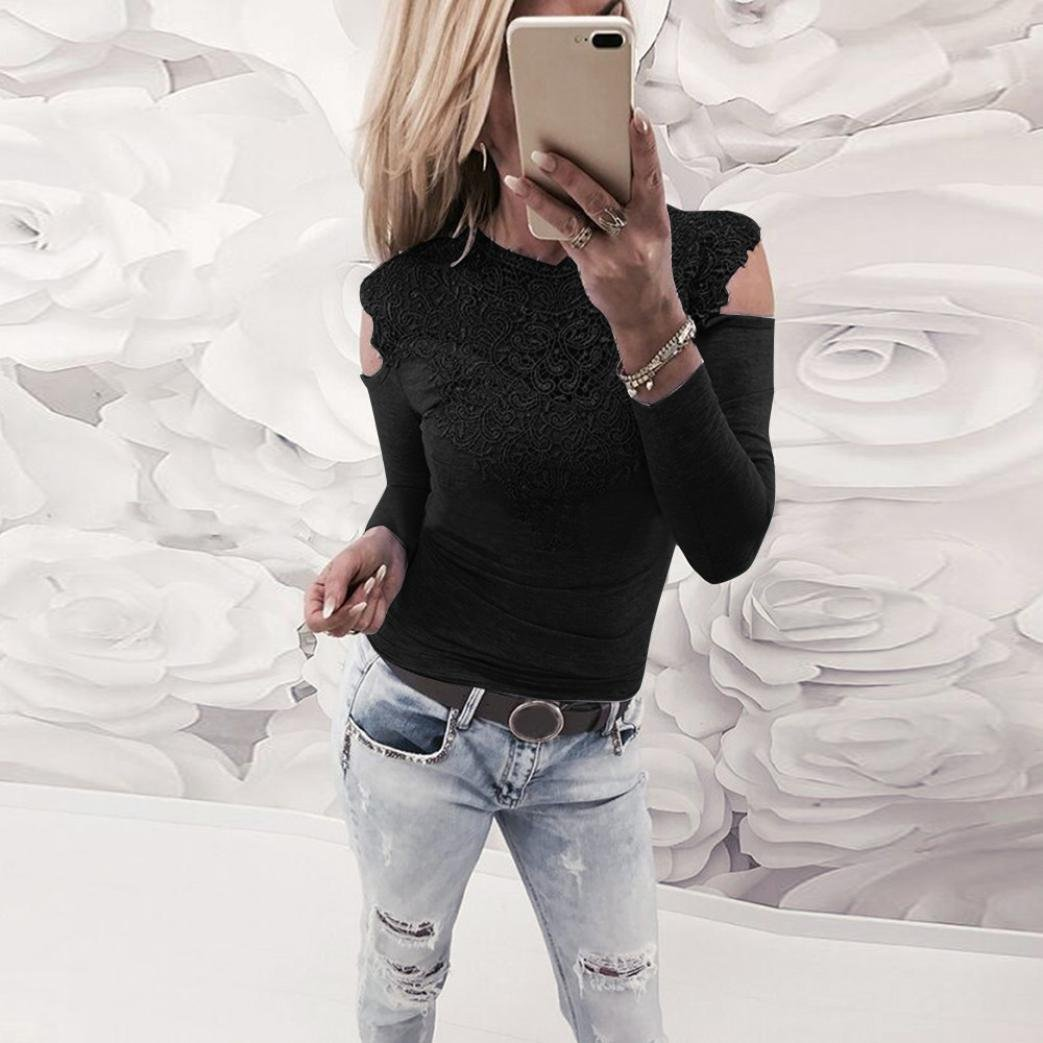 bd44fe214a03 friendGG Fashion Ladies Women Sexy Pullover Casual T-Shirt Lace Patchwork  Sweatshirt Shirts Long Sleeve Summer Round Neck Blouse Tee Top Tunic  Leisure Tops ...