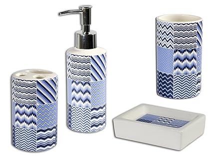Vetrineinrete® set 4 pezzi accessori bagno in ceramica dispenser