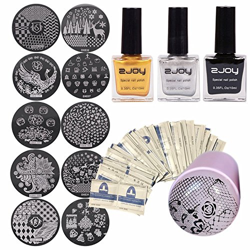 Joligel Nail Art Stamping Kit, Silicone Stamper + Scraper + 3 Stamping Polishes (Black Gold Silver) + 10 Stamps + 50 Polish Remover Wraps, Professional Manicure Stamping Set Nail Design Decoration -