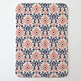 Carousel Designs Navy and Coral Ikat Damask Toddler Bed Comforter