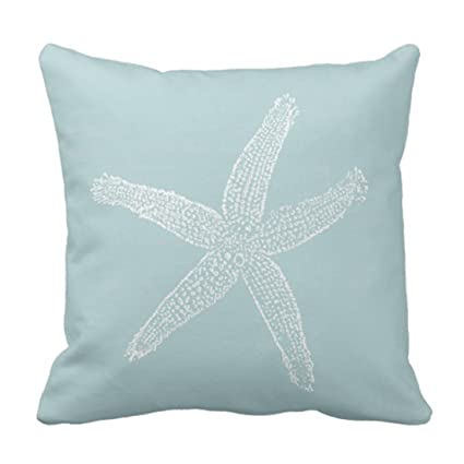 Emvency Throw Pillow Cover Green Star Vintage Starfish Pastel Seafoam Blue Fish Decorative Pillow Case Home Decor Square 18 X 18 Inch Pillowcase by Emvency