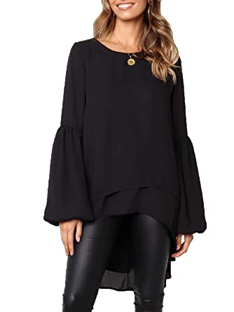 228042840b5 MISSLOOK Women's Lantern Long Sleeve Tops High-Low Hem Tunic Round Neck  Asymmetrical Irregular Hem