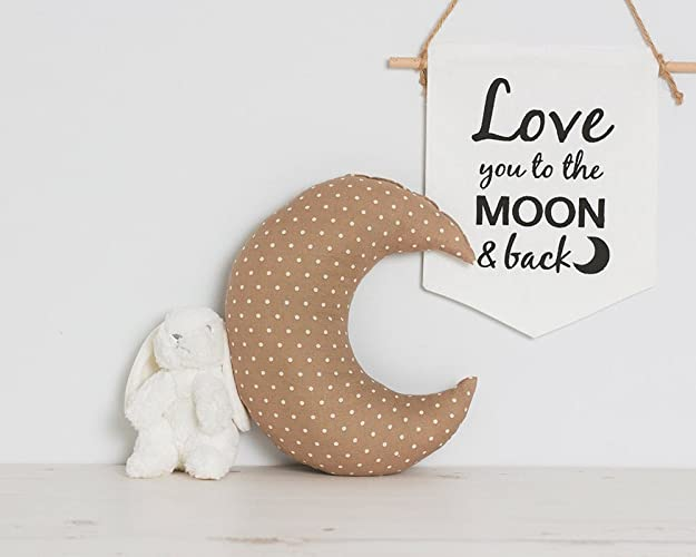 Moon shaped pillow brown with white
