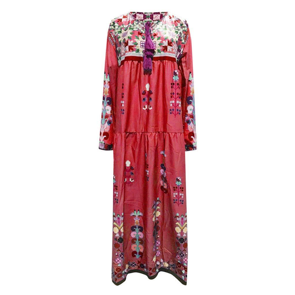 Robe en Dentelle /à Manches Longues Boh/êMe Maxi Dress pour Femmes HCFKJ Femme Robe