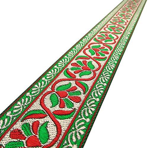 White Trim Jacquard Ribbon (Woven White Border 5.0 Cm Wide Indian Jacquard Ribbon Sewing Craft By The Yard)
