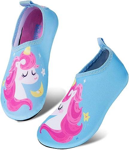 x.djs.Bleu,26//27 EU WateLves Chaussures de Bain pour Enfants Chaussures de Plage Chaussures de Natation antid/érapantes Chaussures de Surf Chaussures de Sport pour Enfants Jardin