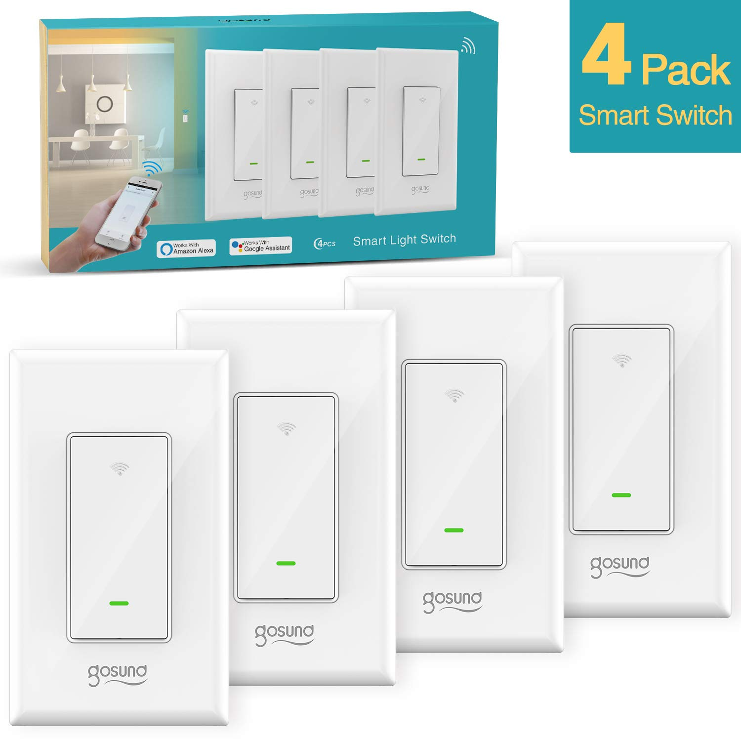 Gosund Smart Light Switch, 15A In-wall Wifi Switch that Works with Alexa and Google Home, Single-Pole only, Neutral Wire Needed, No Hub Required, ETL and FCC Listed,4 Pack White by TanTan